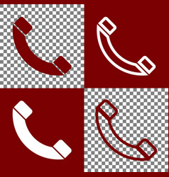 Phone sign bordo and white vector