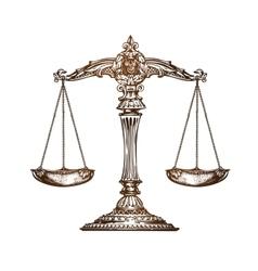 Scales of justice vintage sketch vector
