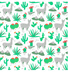 seamless pattern with alpaca and cactus vector image