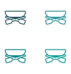 Set of stickers boat and oars on white background vector