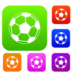 soccer ball set collection vector image
