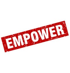Square grunge red empower stamp vector