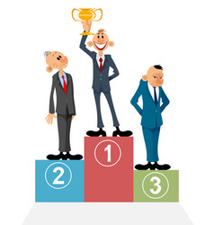 three businessmen on pedestal vector image