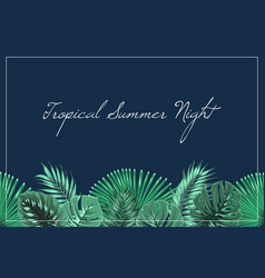 Tropical summer night header footer midnight blue vector