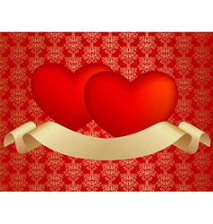 two hearts with ribbon vector image vector image