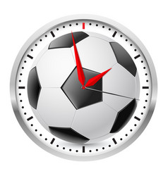Wall clock football style on white background vector