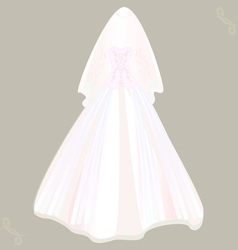 Wedding dress with veil vector
