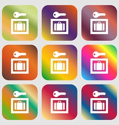 Luggage storage icon nine buttons with bright vector
