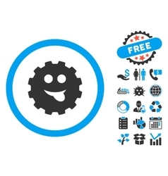 Tongue smile gear flat icon with bonus vector