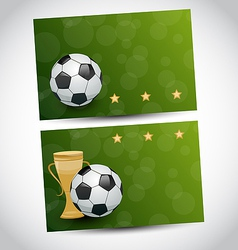 Football cards with champion cup and place for vector