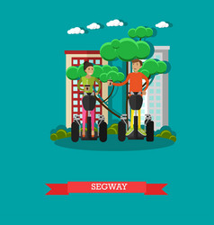 Young couple riding segway vector