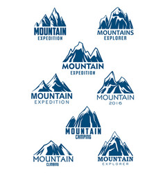 Mountain icons for climbing or hiking sport vector
