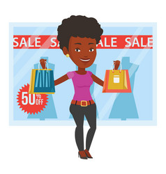 Woman shopping on sale vector