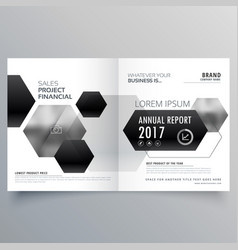 Abstract bifold magazine page design with black vector
