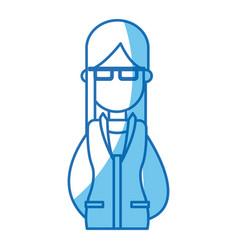 portrait woman with sunglasses blue line vector image