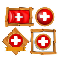flag of switzerland in different frames vector image