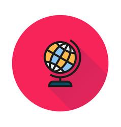 Globe icon on round background vector