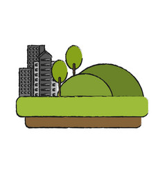 City buildings next to hills grass and trees icon vector