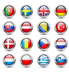 World flag glass icons vector