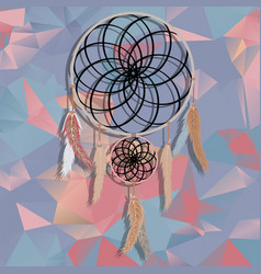 Beautiful dream catcher on polygonal background vector