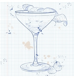 Clover club cocktail on a notebook page vector
