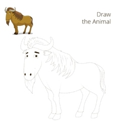 Draw the animal educational game wildebeest vector image