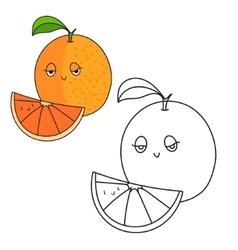 Educational game coloring book orange fruit vector