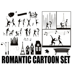 silhouette on cartoons in love vector image