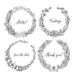 Vintage wreaths collection of trendy cute vector