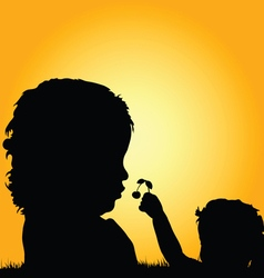 Children silhouette in nature set one vector
