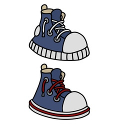 Funny blue sneakers vector