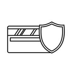 Credit card and shield icon outline style vector