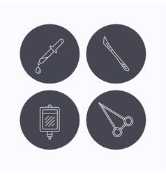 Blood donation scalpel and pipette icons vector