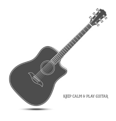 Acoustic guitar isolated keep calm and play vector