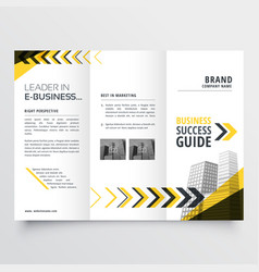 Awesome tri fold brochure design in yellow black vector