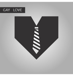 black and white style icon gays heart tie vector image vector image