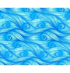 Blue curly waves seamless pattern vector image vector image
