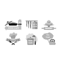 cartoon kitchen labels set vector image vector image