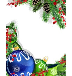 Christmas baubles with green ribbon vector image