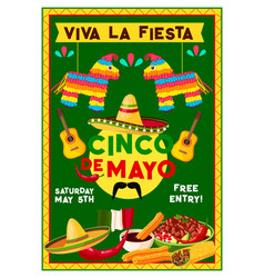 Cinco de mayo mexican holiday party flyer vector