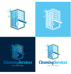 cleaning services icon and logo vector image vector image