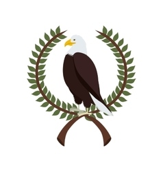 Eagle in crown formed with olive branch vector