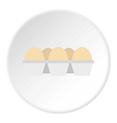 Eggs in carton package icon circle vector