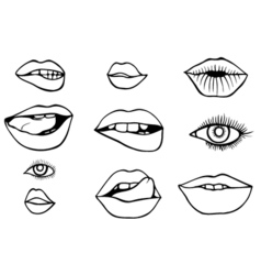 Eyes and lips icons set vector