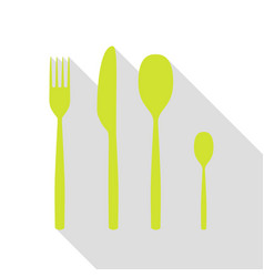 Fork spoon and knife sign pear icon with flat vector