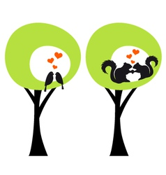 Green trees with birds and squirrels in love vector