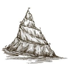 Hand drawn mountain Mountain peak serpentine road vector image