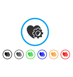 heart gear rounded icon vector image