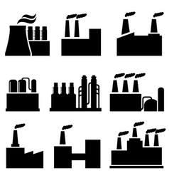 industrial buildings factory and pollution vector image vector image