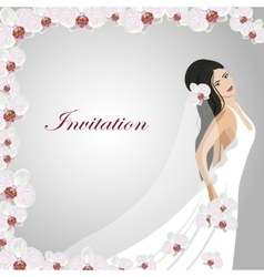 Invitation card with a beautiful bride vector image